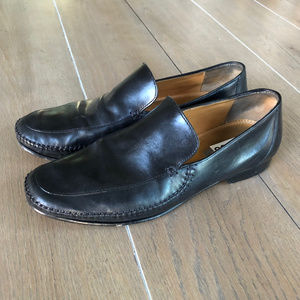 J&M 10M Black Leather Slip On Loafers Shoes